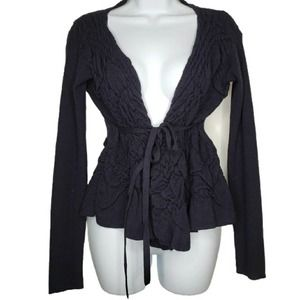 Anthro Sparrow Blue Open Cardigan Sweater Small